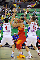 Serbia´s RADULJICA, Miroslav (R) and TEODOSIC, Milos  and Spain's  GASOL, Marc during 2014 FIBA Basketball World Cup Group Phase-Group A, match Serbia vs Spain. Palacio  Deportes of Granada. September 4,2014. (ALTERPHOTOS/Raul Perez)