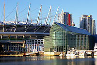 Vancouver, BC, British Columbia, Canada - BC Place Stadium (New Retractable Roof completed in 2011), and Edgewater Casino at False Creek