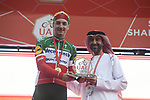 Italian National Champion Elia Viviani (ITA) Deceuninck-Quick Step wins Stage 5 of the 2019 UAE Tour, running 181km form Sharjah to Khor Fakkan, Dubai, United Arab Emirates. 28th February 2019.<br /> Picture: LaPresse/Fabio Ferrari | Cyclefile<br /> <br /> <br /> All photos usage must carry mandatory copyright credit (© Cyclefile | LaPresse/Fabio Ferrari)