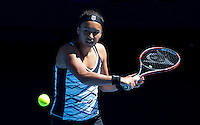 HEATHER WATSON (GBR) against VICTORIA AZARENKA (BLR) in the first round of the Women's Singles. Victoria Azarenka beat heather Watson 6-1 6-0...16/01/2012, 16th January 2012, 16.01.2012..The Australian Open, Melbourne Park, Melbourne,Victoria, Australia.@AMN IMAGES, Frey, Advantage Media Network, 30, Cleveland Street, London, W1T 4JD .Tel - +44 208 947 0100..email - mfrey@advantagemedianet.com..www.amnimages.photoshelter.com.
