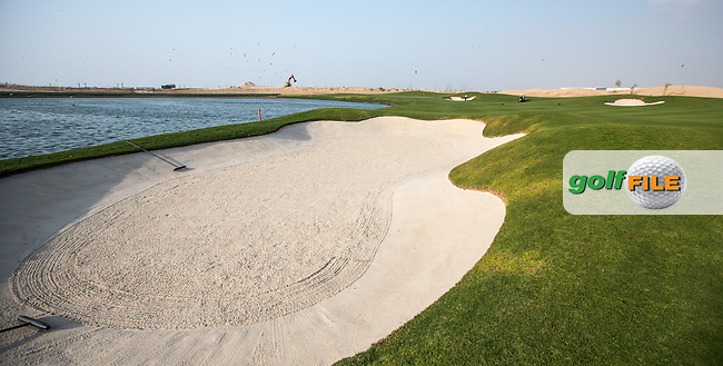 View of the left-side fairway bunker on the 16th at Al Zorah Golf Club, Dubai, United Arab Emirates.  26/01/2016. Picture: Golffile | David Lloyd<br /> <br /> All photos usage must carry mandatory copyright credit (&copy; Golffile | David Lloyd)