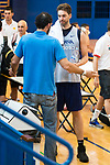 FEB President Jorge Garbajosa and Pau Gasol during the Spain training session before EuroBasket 2017 in Madrid. August 02, 2017. (ALTERPHOTOS/Borja B.Hojas)