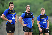 Charlie Ewels, Max Lahiff and Tom Woolstencroft of Bath Rugby look on. Bath Rugby training session on August 4, 2015 at Farleigh House in Bath, England. Photo by: Patrick Khachfe / Onside Images