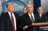 United States President Donald J. Trump listens to Hector Garza, Vice President At Large, National Border Patrol Council speak about border security in the White House briefing room in Washington, DC, January 3, 2019. <br /> CAP/MPI/RS<br /> &copy;RS/MPI/Capital Pictures