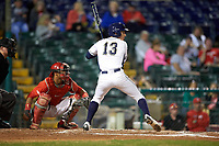 Pitt Panthers left fielder Jacob Wright (13) at bat in front of catcher Jalen Washington (2) during a game against the Ohio State Buckeyes on February 20, 2016 at Holman Stadium at Historic Dodgertown in Vero Beach, Florida.  Ohio State defeated Pitt 11-8 in thirteen innings.  (Mike Janes/Four Seam Images)