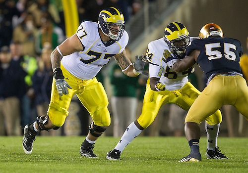 September 22, 2012:  Michigan offensive lineman Taylor Lewan (77) during NCAA Football game action between the Notre Dame Fighting Irish and the Michigan Wolverines at Notre Dame Stadium in South Bend, Indiana.  Notre Dame defeated Michigan 13-6.