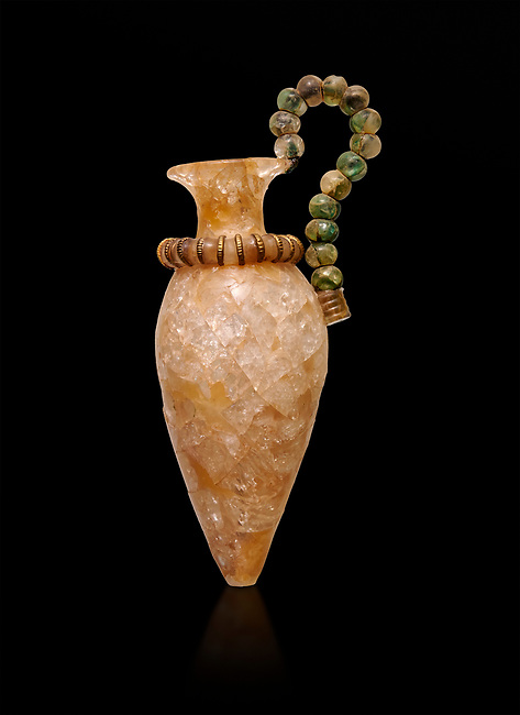 Minoan small luxury rock crystal rhython with a handle of crstal deads and guilded ivory, Zakros Centural Sanctuary Complex  1500-1400 BC; Heraklion Archaeological  Museum, black background.