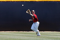 Nate Ring #7 of the Cal State Northridge Matadors catches a fly ball during a game against the UC Santa Barbara Gauchos at Matador Field on May 12, 2013 in Northridge, California. Cal State Northridge defeated UC Santa Barbara 7-1. (Larry Goren/Four Seam Images)