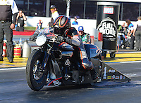 Nov. 11, 2012; Pomona, CA, USA: NHRA pro stock motorcycle rider Eddie Krawiec during the Auto Club Finals at at Auto Club Raceway at Pomona. Mandatory Credit: Mark J. Rebilas-
