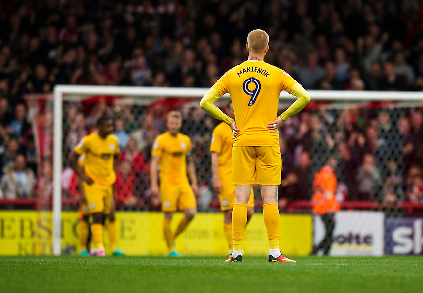 Preston North End's Simon Makienok looks on as they concede a goal<br /> <br /> Photographer Ashley Western/CameraSport<br /> <br /> The EFL Sky Bet Championship - Brentford v Preston North End - Saturday 17 September 2016 - Griffin Park - London<br /> <br /> World Copyright &copy; 2016 CameraSport. All rights reserved. 43 Linden Ave. Countesthorpe. Leicester. England. LE8 5PG - Tel: +44 (0) 116 277 4147 - admin@camerasport.com - www.camerasport.com