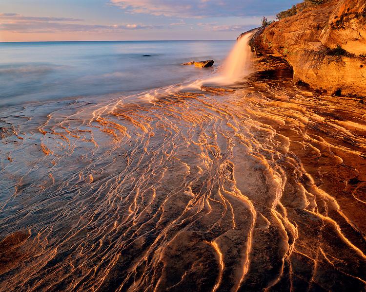Sunset light on Miners Beach on Lake Superior; Pictured Rocks National Lakeshore, MI