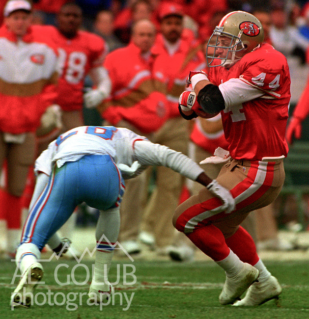 San Francisco 49ers vs. Houston Oilers at Candlestick Park Saturday, December 25, 1993.  Oiler Beat 49ers 10-7.  San Francisco 49ers running back Tom Rathman (44).