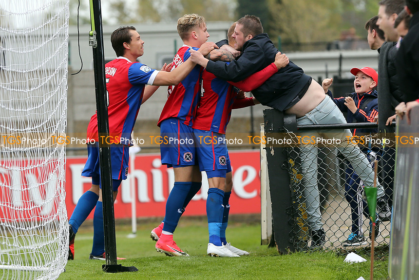 Paul Benson of Dagenham and Redbridge is congratulated after scoring the second goal during Boreham Wood vs Dagenham & Redbridge, Vanarama National League Football at Meadow Park on 14th April 2017