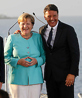 Matteo Renzi , prime minister of Italy, and German Chancellor Angela Merkel , attends at press conference  on board of Itally's Navy Garibaldi, at the of Italy - France - Germany summit in Ventotene Island 22 August 2016