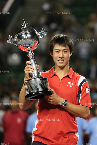 Kei Nishikori (JPN), OCTOBER 7, 2012 - Tennis : Kei Nishikori of Japan celebrates with his trophy after his victory against Milos Raonic of Canada in the men's singles finals match at the Japan Open tennis championships at Ariake colosseum in Tokyo, October 7, 2012. Nishikori defeated Raonic 7-6(5), 3-6, 6-0 to become the tournament's first Japanese champion since it became an ATP event in 1973. (Photo by Motoo Naka/AFLO)