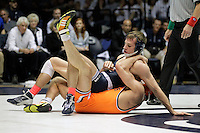 STATE COLLEGE, PA - FEBRUARY 16: David Taylor of the Penn State Nittany Lions wrestles Tyler Caldwell of the Oklahoma State Cowboys during the 165 pound match on February 16, 2014 at Rec Hall on the campus of Penn State University in State College, Pennsylvania. Penn State won 23-12. (Photo by Hunter Martin/Getty Images) *** Local Caption *** David Taylor;Tyler Caldwell
