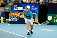 9th January 2020; Sydney Olympic Park Tennis Centre, Sydney, New South Wales, Australia; ATP Cup Australia, Sydney, Day 7; Great Britain versus Australia; Cameron Norrie of Great Britain versus Nick Kyrgios of Australia; Cameron Norrie of Great Britain hits a low hits a forehand to Nick Kyrgios of Australia  - Editorial Use