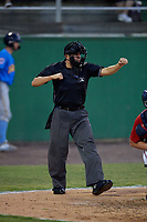 Umpire Josh Gilreath strike three call during a Carolina League game between the Myrtle Beach Pelicans and Potomac Nationals on August 14, 2019 at Northwest Federal Field at Pfitzner Stadium in Woodbridge, Virginia.  Potomac defeated Myrtle Beach 7-0.  (Mike Janes/Four Seam Images)