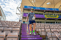 Essex captain Simon Harmer walks to the field ready for the warm-up prior to Hampshire vs Essex Eagles, Vitality Blast T20 Cricket at the Ageas Bowl on 25th August 2019