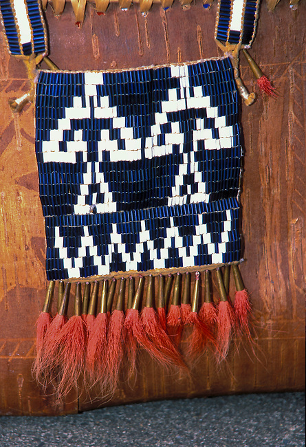 Shawnee bag decorated with wampum beads, also known as a shoulder purse, was used to carry personal items, ammunition and food.