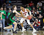 SIOUX FALLS, SD - MARCH 8: Stanley Umude #0 of the South Dakota Coyotes drives to the basket against a North Dakota Fighting Hawks defender at the 2020 Summit League Basketball Championship in Sioux Falls, SD. (Photo by Richard Carlson/Inertia)