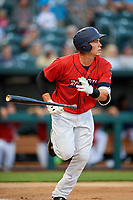 Jacksonville Jumbo Shrimp left fielder Peter O'Brien (27) runs to first base during a game against the Biloxi Shuckers on June 8, 2018 at Baseball Grounds of Jacksonville in Jacksonville, Florida.  Biloxi defeated Jacksonville 5-3.  (Mike Janes/Four Seam Images)