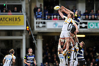 Bradley Davies of Wasps competes with Charlie Ewels of Bath Rugby for the ball at a lineout. Aviva Premiership match, between Bath Rugby and Wasps on February 20, 2016 at the Recreation Ground in Bath, England. Photo by: Patrick Khachfe / Onside Images