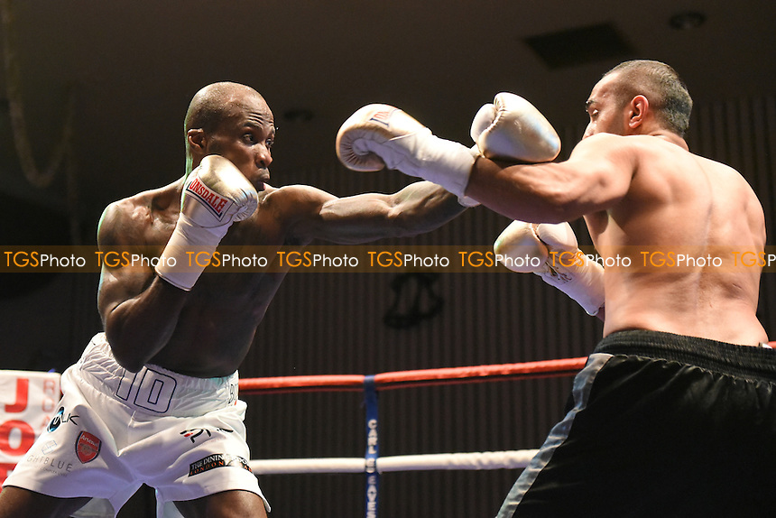 Idris Hill (white shorts) defeats Ibrar Riyaz during a Boxing Show at the Civic Hall, Grays, England on 03/12/2015