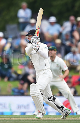 23.02.2016. Christchurch, New Zealand.  Matt Henry batting on Day 4 of the 2nd test match. New Zealand Black Caps versus Australia. Hagley Oval in Christchurch, New Zealand. Tuesday 23 February 2016.
