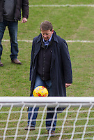 Bill Turnbull plays keep ups during BBC Breakfast as they air their live broadcast on Tuesday morning, presented by Bill Turnbull for his penultimate appearance on the programme at Adams Park, High Wycombe, England on 23 February 2016. Photo by Andy Rowland.