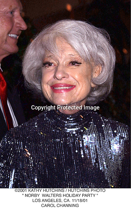 "©2001 KATHY HUTCHINS / HUTCHINS PHOTO."" NORBY  WALTERS HOLIDAY PARTY "".LOS ANGELES, CA. 11/18/01.CAROL CHANNING"