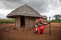 Traditional healer Ropinho Cassuada, 40, outside his 'hospital' hut.
