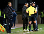 St Johnstone v Celtic...18.12.11   SPL .Neil Lennon gets a lecture from ref Euan Norris after his goal celebration.Picture by Graeme Hart..Copyright Perthshire Picture Agency.Tel: 01738 623350  Mobile: 07990 594431