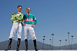 SANTA ANITA, CA- MARCH 31:  John Smith and Aaron Gryder pose for a portrait during the Jockey's II Portrait Shoot at the Santa Anita Race Track on March 31, 2009 in Santa Anita, California. (Photo by Donald Miralle for Discovery Communications)