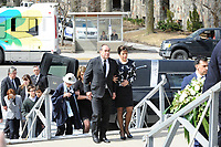 Jean-Francois lepine and Mireille Deyglun<br /> Janine Sutto's daughter<br /> attend Sutto funerals, April 10, 2017.<br /> <br /> PHOTO  :  Agence Quebec Presse
