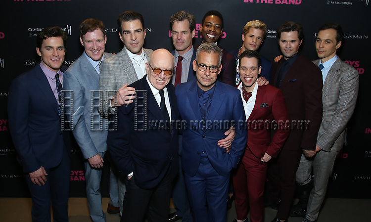Matt Bomer, Brian Hutchison, Zachary Quinto, Mart Crowley, Joe Mantello, Tuc Watkins, Michael Benjamin Washington, Charlie Carver, Robin de Jesus, Andrew Rannells and Jim Parsons attends the 'The Boys In The Band' 50th Anniversary Celebration at The Second Floor NYC on May 30, 2018 in New York City.