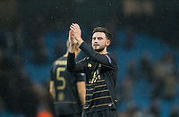 Patrick Roberts (on loan from Man City) of Celtic applauds the away support during the UEFA Champions League GROUP match between Manchester City and Celtic at the Etihad Stadium, Manchester, England on 6 December 2016. Photo by Andy Rowland.
