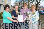 CUP: Cait Lynch (Annascaul winner of the Baumauna Cup for Art at the ICA National Conference in the Brandon Hpotel, Tralee on Saturday. L-r: Mary Kenny, JoAnn Lenehan (Kerry federation ICA President), Caith Lynch (winner) and Anne Marie Dennison (National President ICA from Abbeyfeale).................................. ....