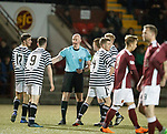 01.05.2018 Stenhousemuir v Queens Park: ref Alan Newlands pulls back play and rules out a quickly takn free kick which ended up in the net