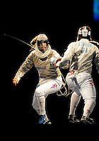 Aug. 9, 2008; Beijing, CHINA; Mariel Zagunis (left) battles Sada Jacobson in the womens fencing individual final at the Fencing Hall in the 2008 Beijing Olympic Games at the National Stadium. Zagunis won the gold medal. Mandatory Credit: Mark J. Rebilas-