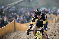 Daan Soete (BEL/Telenet Fidea Lions) on his way to 3th place. <br /> <br /> Men's Elite Race<br /> Belgian National Cyclocross Championships 2018 / Koksijde