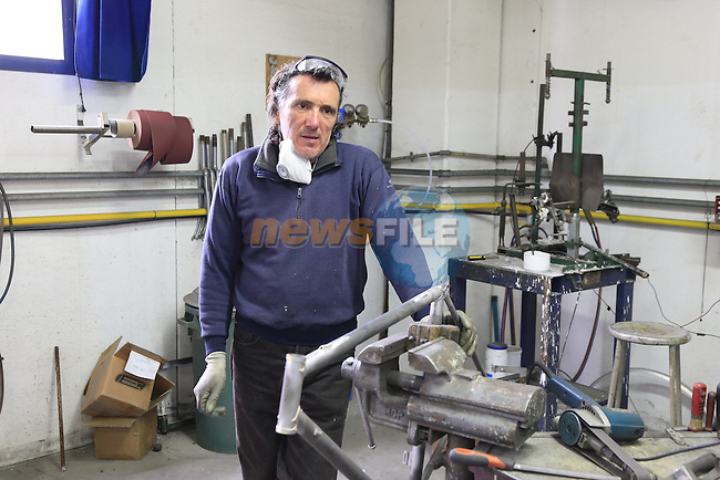 Paolo works on a steel frame on the shop floor of the Tommasini factory based in Grosseto, Tuscany, Italy 6th March 2017.<br /> Picture: Eoin Clarke   Newsfile<br /> <br /> <br /> All photos usage must carry mandatory copyright credit (&copy; Newsfile   Eoin Clarke)