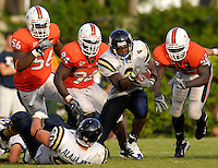 Florida International University Golden Panthers (0-2, 0-0 SBC)  versus the University of Miami Hurricanes (1-1, 0-0 ACC) at the Orange Bowl, Miami, Florida on Saturday, September 15, 2007.  The Hurricanes defeated the Golden Panthers, 23-9...FIU junior running back A'mod Ned (3) (Miami, Fla.) runs for 11 yards and a Golden Panther first down late in the third quarter.
