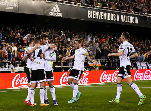 06.03.2016. Mestalla Stadium, Valencia, Spain. La Liga match between Valencia versus Atletico Madrid. Midfielder Denis Cheryshev of Valencia CF (2nd L) celebrates with his team mates after scoring the first goal for his team