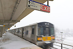 Merrick, New York, U.S. January 21, 2014. Snow falls heavily on the windy elevated platform of the Merrick LIRR train station as towns declare snow emergency, with up to 10 inches of snow expected. The Metropolitan Transit Authority added extra afternoon trains to Long Island Rail Road.