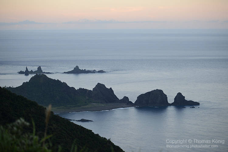 Orchid Island (蘭嶼), Taiwan -- Battleship Rock seen during dusk from the high-vantage point of the Orchid Island weather station.