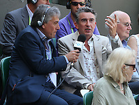 OIC - ENTSIMAGES.COM -  Steve Coogan watches Andy Murray of Great Britain celebrates his win in the Gentlemen's Singles Final match against Novak Djokovic of Serbia of the Wimbledon Lawn Tennis Championships at the All England Lawn Tennis and Croquet Club 7th July 2013     Photo Ents Images/OIC 0203 174 1069