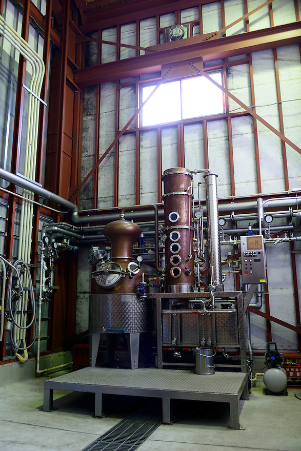 Brandy still. Sata Souji Shoten Shochu Distillery, Minami Kyushu, Kagoshima Pref, Japan, December 21, 2016. The Sata Souji Shoten Shochu Distillery makes shochu spirits from local sweet potatoes. In recent years the distillery has imported grappa, brandy, calvados stills from Europe to experiment with new distilling techniques. They have attracted considerable attention from the media and other distillers as leading innovators in their industry.