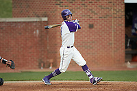Ryan Russell (9) of the High Point Panthers follows through on his swing against the Campbell Camels at Williard Stadium on March 16, 2019 in  Winston-Salem, North Carolina. The Camels defeated the Panthers 13-8. (Brian Westerholt/Four Seam Images)