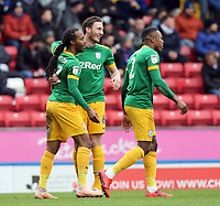 Preston North End's Daniel Johnson (left) celebrates with team-mate Ben Davies after scoring the opening goal <br /> <br /> Photographer Rich Linley/CameraSport<br /> <br /> The EFL Sky Bet Championship - Blackburn Rovers v Preston North End - Saturday 9th March 2019 - Ewood Park - Blackburn<br /> <br /> World Copyright © 2019 CameraSport. All rights reserved. 43 Linden Ave. Countesthorpe. Leicester. England. LE8 5PG - Tel: +44 (0) 116 277 4147 - admin@camerasport.com - www.camerasport.com